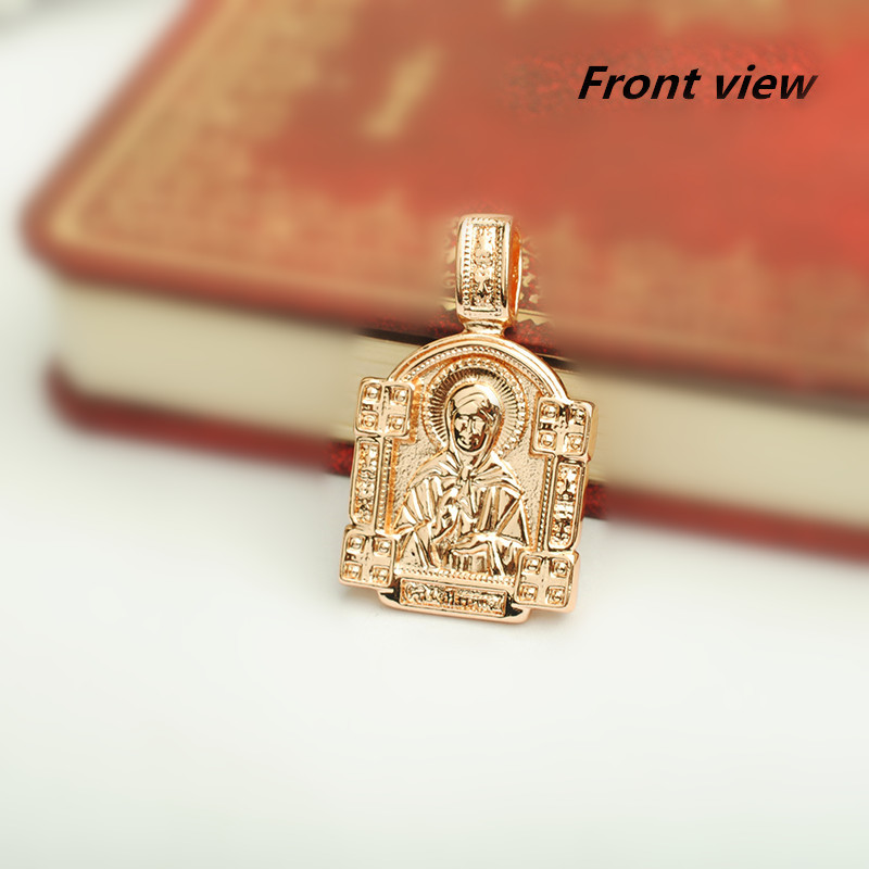 New Traditional Rose Gold Color Women Men Jewelry Classic 2018 Metal Eastern Orthodox Necklace Pendant 32x19mm alloy rose flower pendant necklace