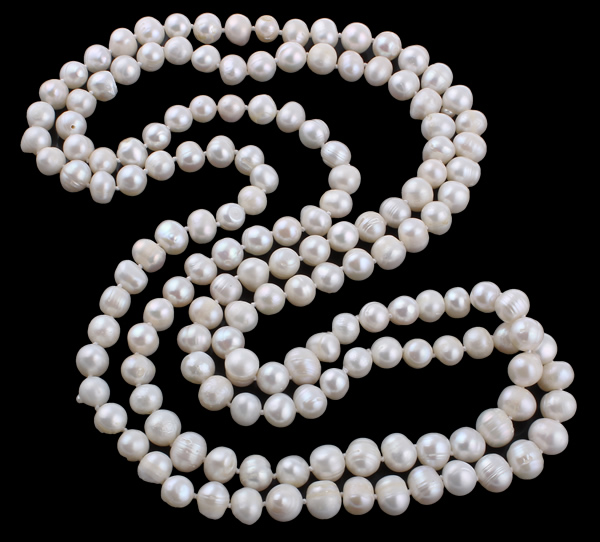 YYW Women Ladies Jewelry Natural Freshwater Pearl Necklace 8-10mm White Pearl Beaded 128CM Long Strand Sweater Chain Neckalces недорго, оригинальная цена