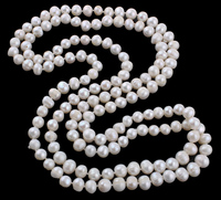 YYW Women Ladies Jewelry Natural Freshwater Pearl Necklace 8-10mm White Pearl Beaded 128CM Long Strand Sweater Chain Neckalces