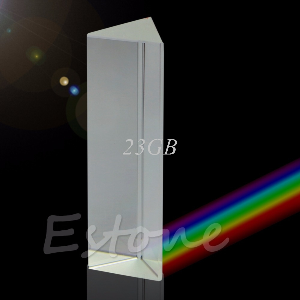 Triple Triangular Prism Optical Glass Physics Teaching Light Spectrum 10cm 4 APR01_17 physical science optical experiments triangular prism convex lens physics optical instruments durable quality