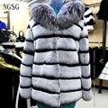 Women's Coat Sliver Fox Collar  Rex Rabbit Striped Winter Keep Warm Thickness Covered Button Gray Black Fashion Coat RA13020-8