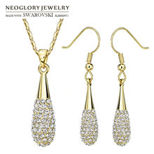 Neoglory Rhinestone Jewelry Set Luxuriant Gold Color Beads Lady Necklace & Earrings Embellished With Crystals From Swarovski(China)