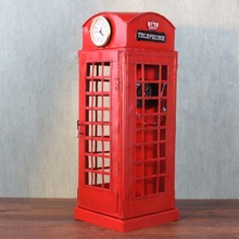 Ручной работы ретро железная телефонная будка с часами и антикварным телефоном креативная студия украшения магазина одежды