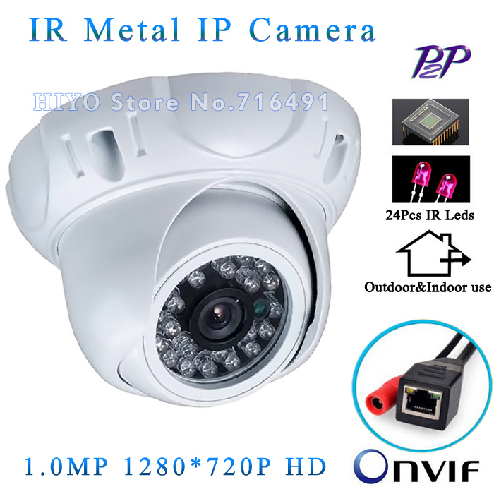 1280*720P 1.0MP Mini Dome IP Camera ONVIF 2.0 Waterproof Indoor/Outdoor IR CUT Night Vision P2P Plug and Play Free Fast Shipping wifi ipc 720p 1280 720p household camera onvif with allbrand camera free shipping