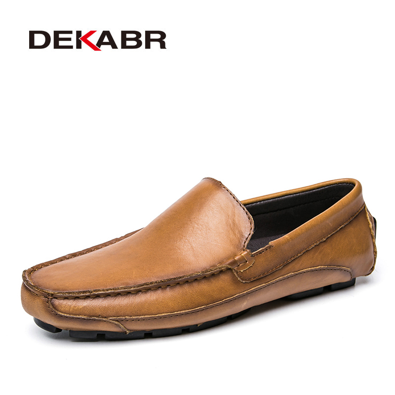 DEKABR Genuine Leather Men Shoes Casual Driving Shoes Leather Mocassin Soft Breathable Men Flats Summer Brand Shoes Men Loafers