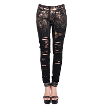 Devil Fashion Bronze Steampunk Denim Trousers Jeans for Women Gothic Hole Ripped Leg Tight Straps Ladies Pants Gold Effect