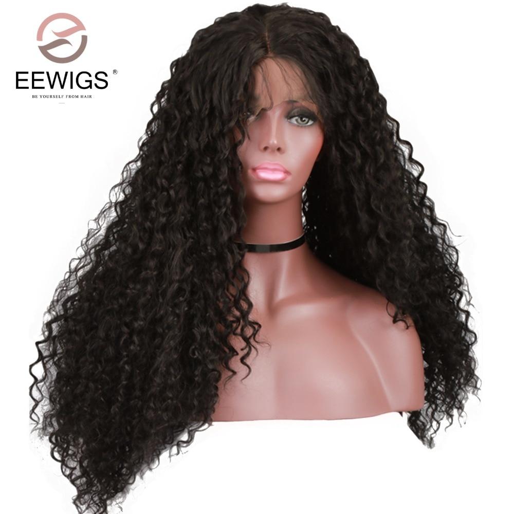 Химическое Синтетические волосы на кружеве парик длинные афро кудрявый вьющиеся Искусственные парики для женский, черный термостойкие с р...