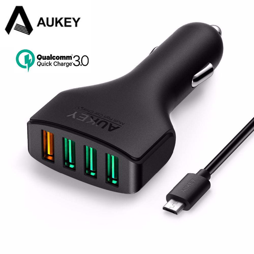 AUKEY Quick Charge 3 0 54W USB Car Charger Adapter Micro USB Cable for Samsung Galaxy