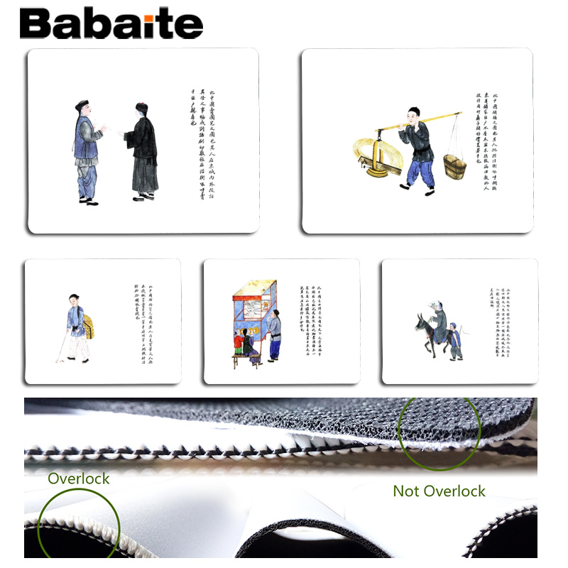 Babaite Cool New Ancient Chinese Folk Customs Computer Gaming Mousemats Size for 18x22cm 25x29cm Rubber Mousemats