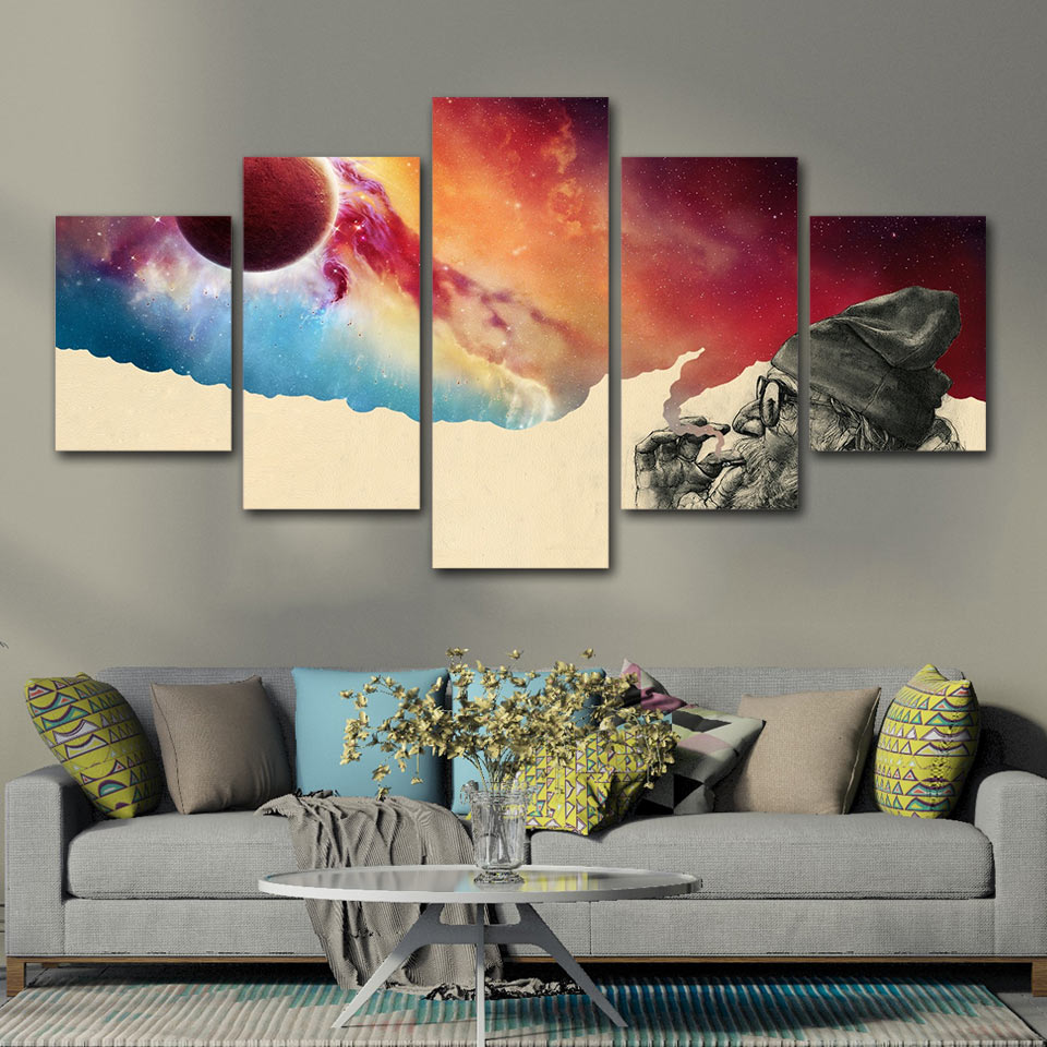 US $5 99 40% OFF|Artsailing 5 Piece Canvas Printed Art Smoke and Wonder  Canvas Old Beard Man Canvas Prints Vintage Wall Pictures for Living Room  -in
