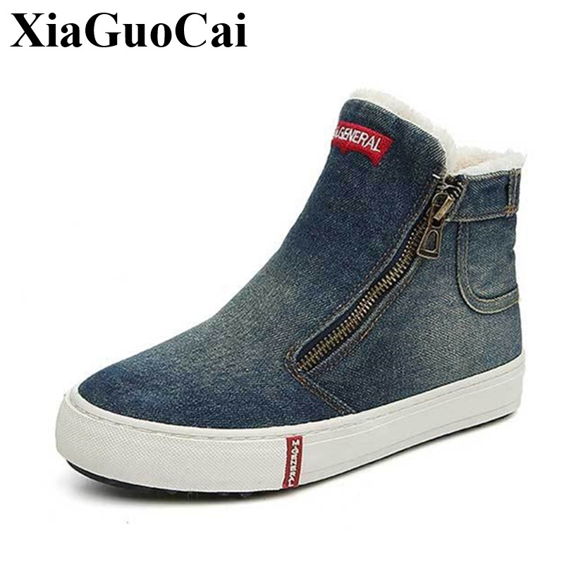 Fashion High-cut Shoes Women Loafers Classic Round Toe Denim Cotton Shoes Platform Flats Casual Shoes Winter Warm Shoes H517 35 цены онлайн