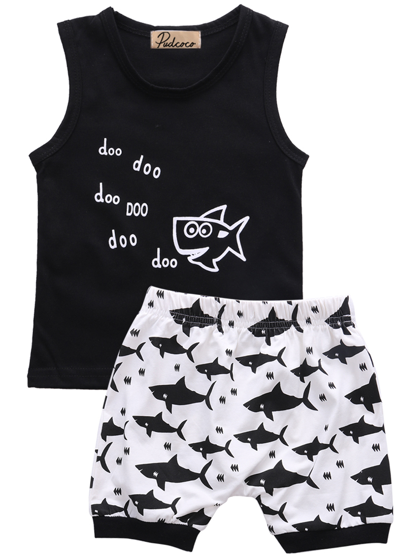 baby summer 2pcs suit!! newborn kids baby boys clothes set letter printed sleeveless tops + shark printed shorts outfits
