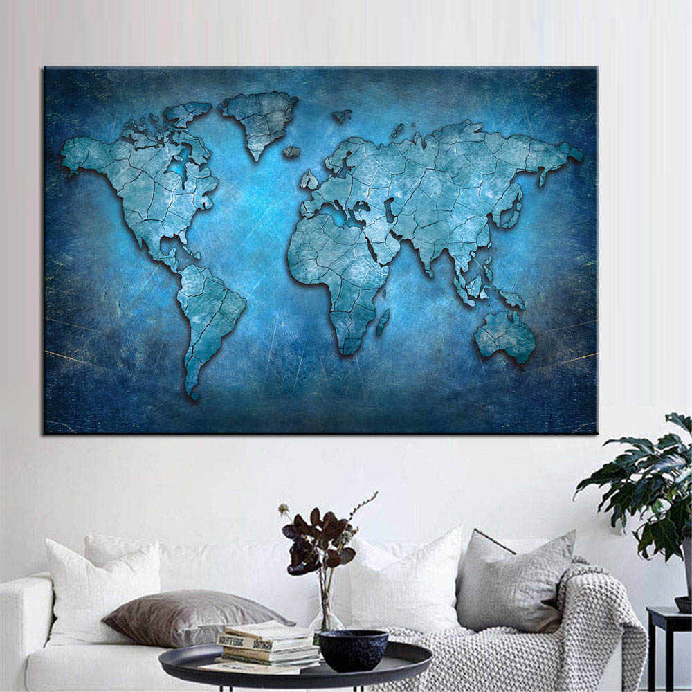 Huge Black World Map Paintings Print On Canvas HD Abstract World Map Canvas Painting Office Wall Art Home Decor Wall Pictures
