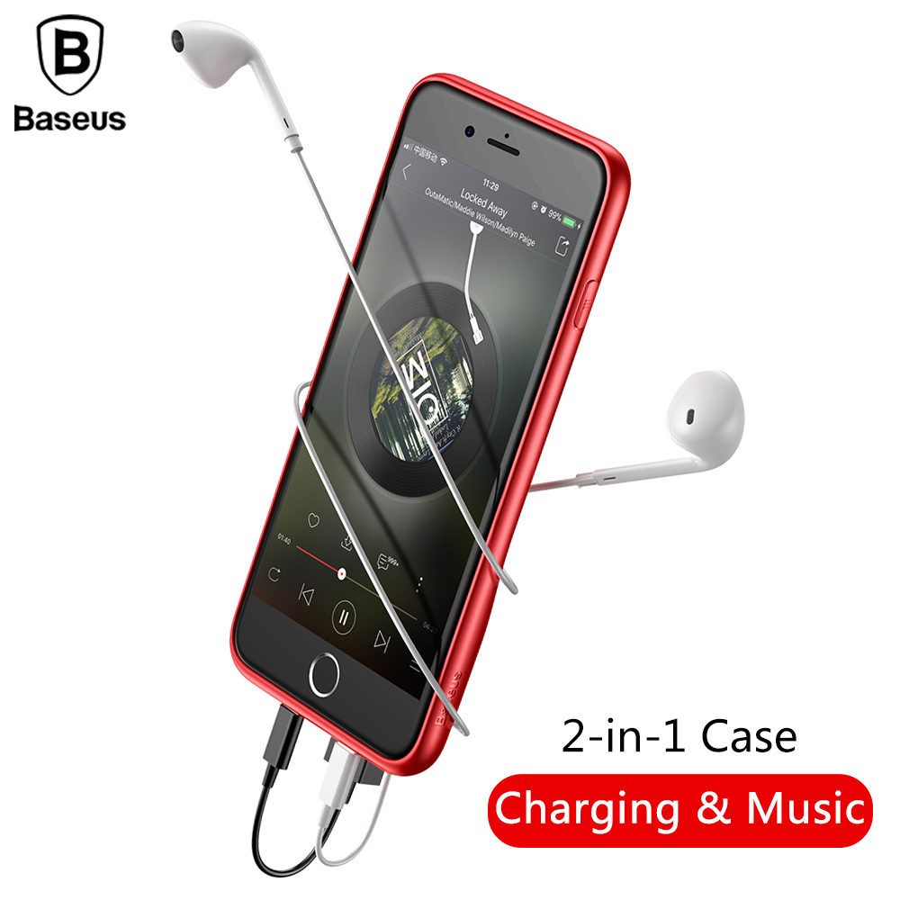 Baseus Charging Audio Case For iPhone 8 7 Earphone Adapter Splitters For iPhone 7 8 Plus Support Music Call Charging Cover Case