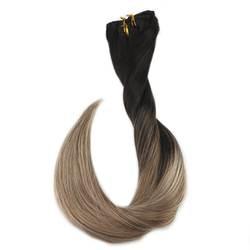 Полный блеск Balayage волос Клип Ins 10 шт. 100 г Цвет 1B выцветания до 8 и 24 Ombre 100% Remy пряди человеческих волос для наращивания