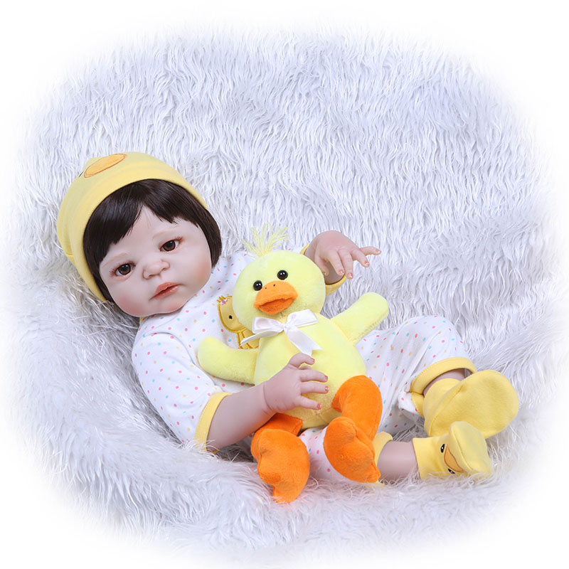 Hot Selling 56CM Baby Reborn Doll Full Body Silicone 3D Lifelike Jointed Newborn Doll Playmate Gift 56cm baby reborn doll full body silicone 3d lifelike jointed newborn doll playmate gift bm88