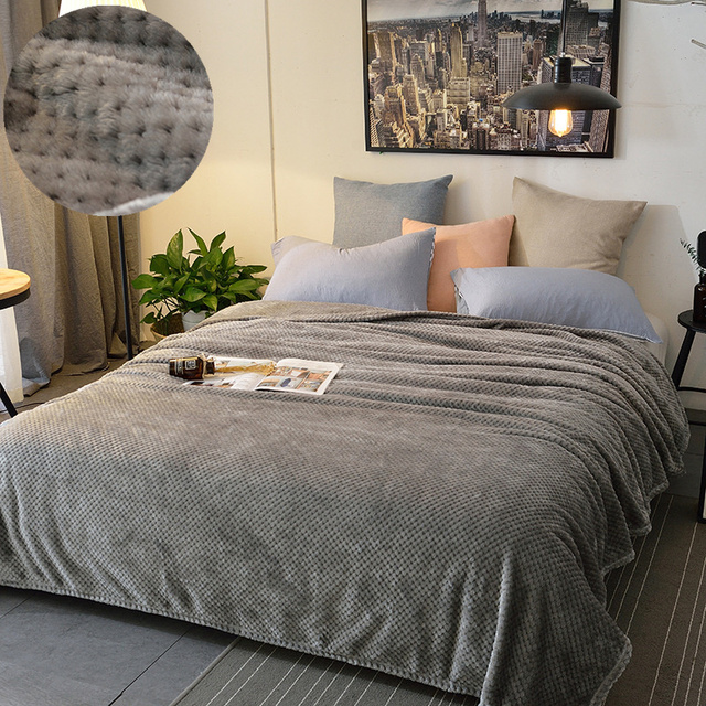 Luxury Solid Pinele Quilted Flannel Bedspread Jacquard Warm Bed Sofa Airplane Gray Purple Throws And