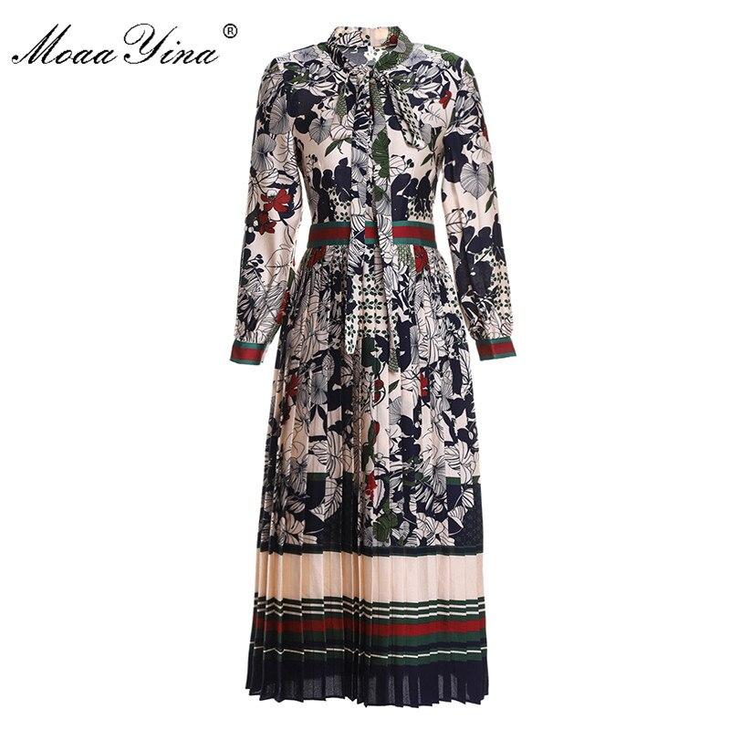 MoaaYina 2018 Fashion Runway Vintage Dress Women Elegant Holiday Long Sleeves Bow Collar Floral Print Female Slim Pleated Dress fashion round collar long sleeves floral print women s mini dress