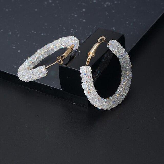 Hot Brand New Design Fashion Charm Bling Crystal Hoop Earrings Geometric Round Shiny Rhinestone Big Earring Jewelry Women