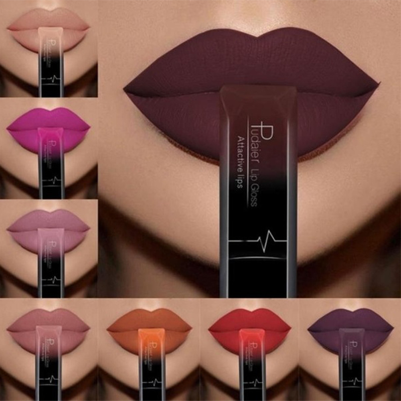New Brand Makeup PUDAIER 21 Color Sexy Liquid Lip Gloss Matte Lipstick Waterproof Long Lasting Velvet Metallic Lip Stick Make Up