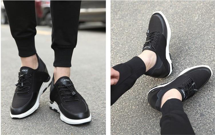 Cm Garçons Summer Taller About 8 Pour hommes Croissante Casual Sneakers Chaussures Confortable Cm 10 black Hauteur Black Obtenir New Ascenseur Respirant ApgHH