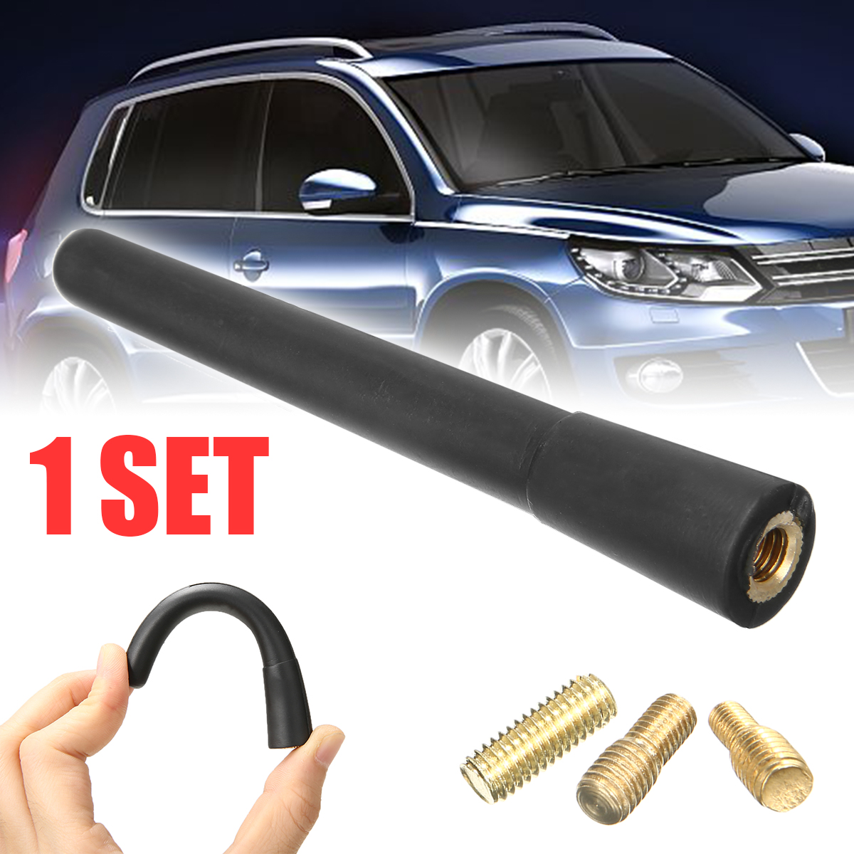 1pcs Auto Car Black Antenna AM//FM Radio Aerial Mast Stubby 2 Screws Accessories