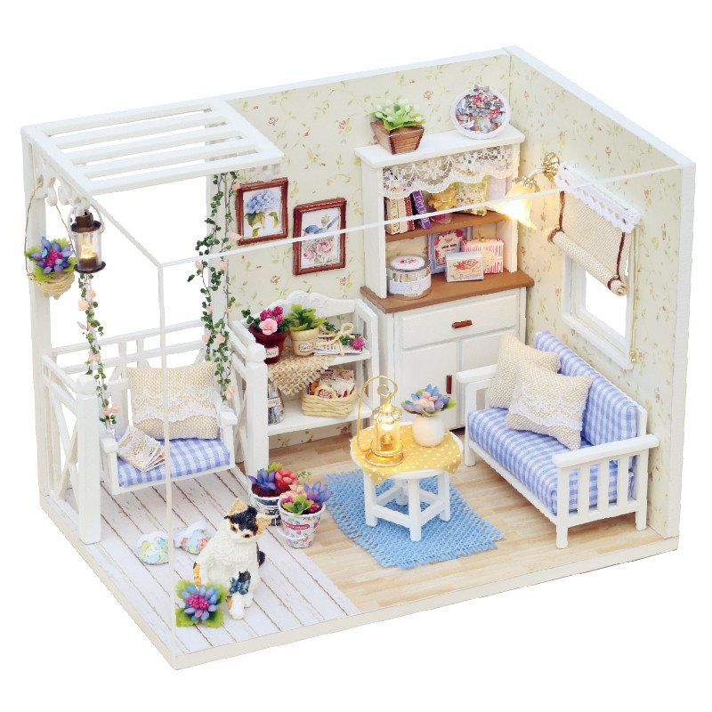 Doll Puppenhaus House Diy Miniatyrmöbler Dammskydd 3D Trä Miniaturer Dollhouse Leksaker Barn Presentkort Kattunge Dagbok maison