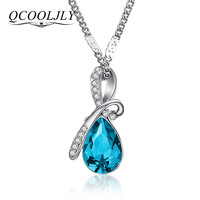 QCOOLJLY Hot 10 Colors Austrian Crystal Necklace Pendants Jewellery & Jewerly 2018 Necklace Women Fashion Jewelry Wholesale