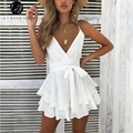 Lily Rosie Girl V Neck Sexy Female Playsuit Plaid Boho Floral Playsuit Shorts Jumpsuit Romper Bodysuit for Women 2018 Streetwear