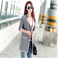 Long Sweaters 2016 Women New Autumn All-match Patchwork Full sleeve Slim Pocket Knitted Cardigan C233