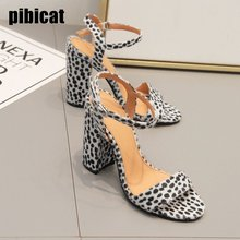 shoes woman high heels sandals 2019 summer sexy Leopard-print horse hair block heels party prom shoes Dress strap sandals summer summer sandals sexy party shoes woman 6 cm