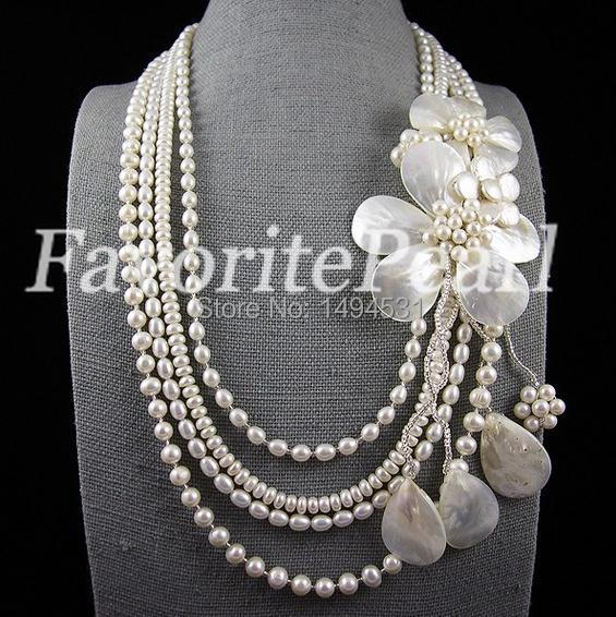 Free Shipping Four Row 6-8mm 24-30 Inches White Color Freshwater Pearl Flower Necklace