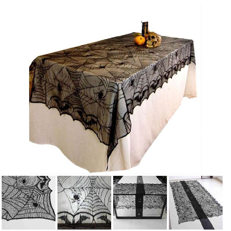 1 Pcs Black Lace Spider Bat Tafelkleed Halloween Rechthoek Halloween Decoratie Gruwelijke Spider Web Party Tafelkleed H Dc112