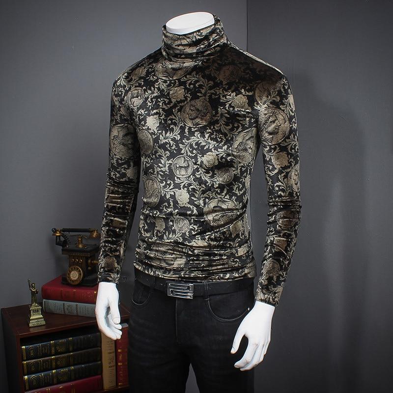 Di lusso Barocco Oro di Velluto Sotto Maglietta Degli Uomini Fiore Paisley Modello Oro Velluto Tshirt Uomo Slim Fit A Manica Lunga Collo alto 5xl
