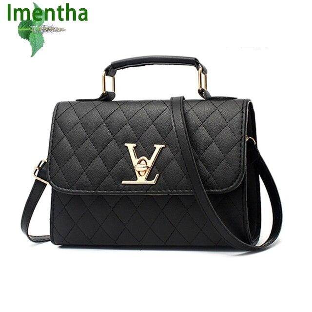 Imenth flap big V black women shoulder bags