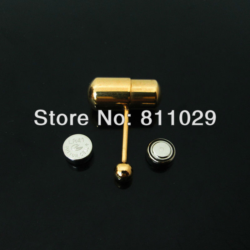 Free shipping wholesale without electron 20pcs surgical <font><b>Stainless</b></font> <font><b>Steel</b></font> <font><b>gold</b></font> plated <font><b>vibrating</b></font> piercing <font><b>tongue</b></font> barbell <font><b>ring</b></font>