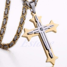 S105 New Fashion Unique Mens Chain Byzantine Stainless Steel Cross Pendant Necklace