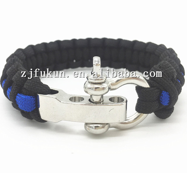 Outdoor Camping Thin Blue Line Black Braided Cobra Weave Paracord Survival Bracelet Police Lives Matter