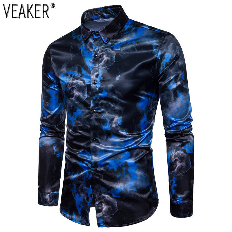 2018 Autumn New Men's Silk Satin Printed Shirts Male Slim Fit Long Sleeve Party Shirts Men Print Business Shirt Tops S-2XL