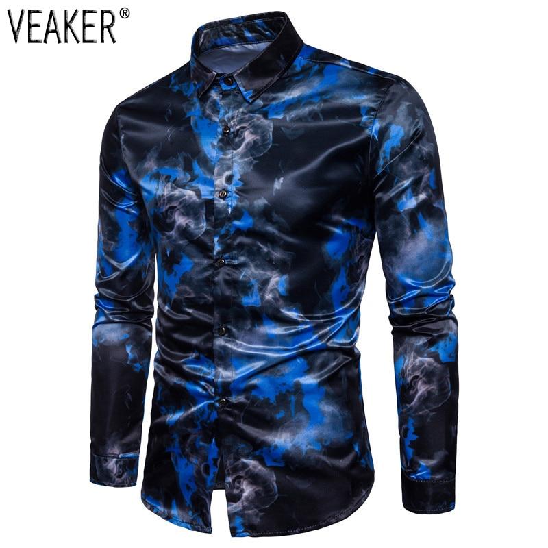 2019 Autumn New Men's Silk Satin Printed Shirts Male Slim Fit Long Sleeve Party Shirts Men Print Business Shirt Tops S-2XL