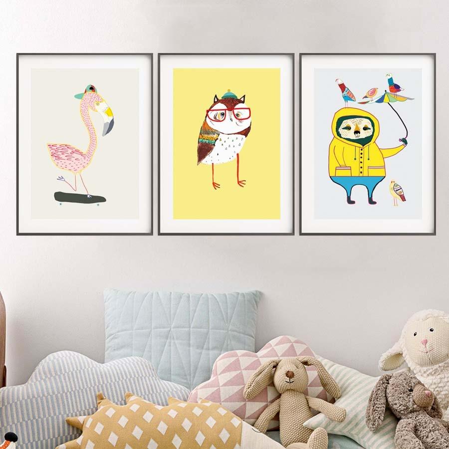Flamingo zebra Bird bear Cartoon Animals Canvas Art Print poster ...