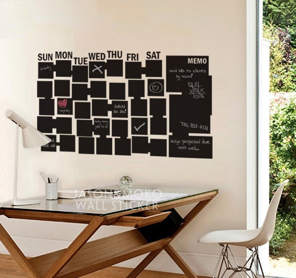 Chalkboard Wallpaper Wall Calendar for Office Wall Stickers for Kids Room Study Home Decoration 60cmX105cm Free Shipping