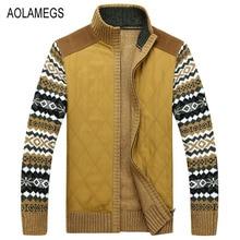 Aolamegs Men Sweater Autumn Winter Cardigan Jacket Men's Fashion Casual Jacquard Sweatercoat Male 2016 Knitting Sweter Hombre