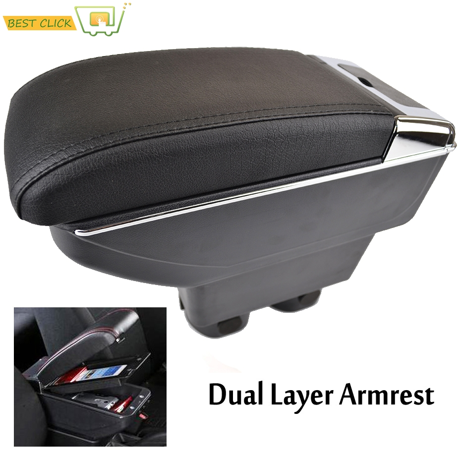 Dual Layer Center Console Storage Box For Nissan VERSA TIIDA LATIO 2007 2011 Faux Leather Armrest