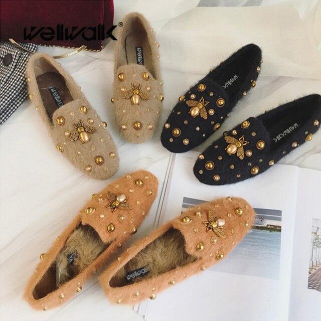 97e700efd Fur Loafer Flats Women Bee Shoes Ladies Fur Moccasins Female Winter Shoes  Women Ballerina Flats Slip On Shoes Casual Ballet Flat