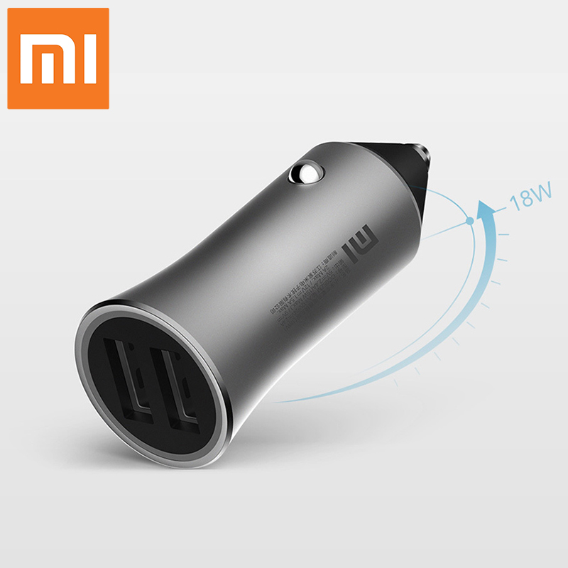 Xiaomi 18W Quickly Car Charger White LED Prompt Light Mobile Phone Charger Fast Charging Two USB Output Ports Rapid Car Charging
