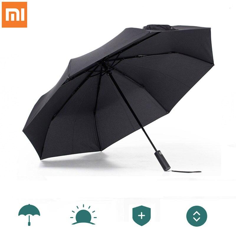 Xiaomi mijia automático ensolarado chuvoso bumbershoot alumínio à prova de vento à prova dwindproof água uv parasol homem mulher verão inverno pára-sol