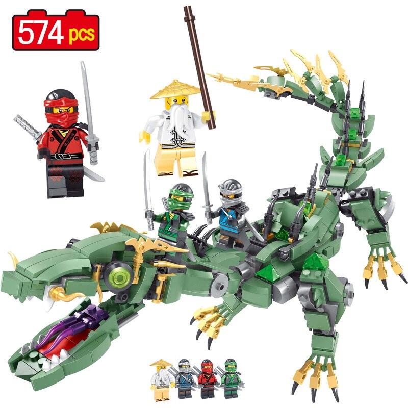 574 piezas verde Ninjagoed Mech dragón Compatible Legoingly Ninjagoed película Lloyd maestro Wu bloques ladrillos juguetes regalos