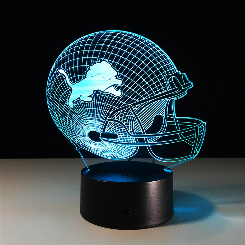 USB table desk Lamp Team Logo 3D Light LED Detroit Lions Football Cap Helmet 7 color changing touch switch light Home Decoration цены