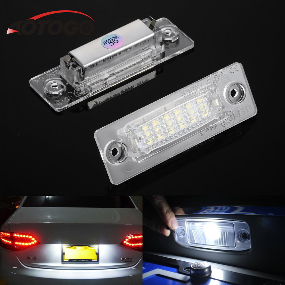 2Pcs License Plate Light Lamp for VW Touran /Passat B6 5D /Jetta Candy/SKODA Superb 1 3U B5 18SMD car Rear LED light